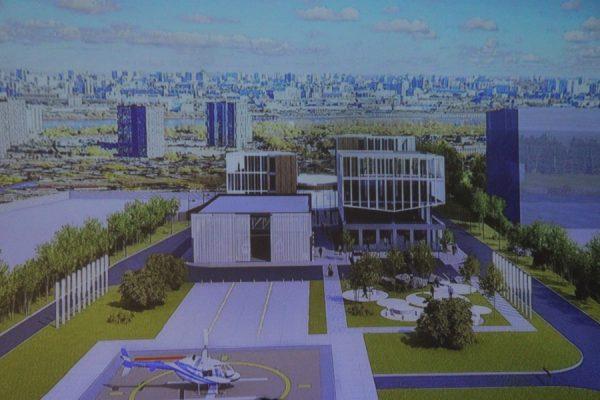 Бизнес-центр с функцией вертолетного порта