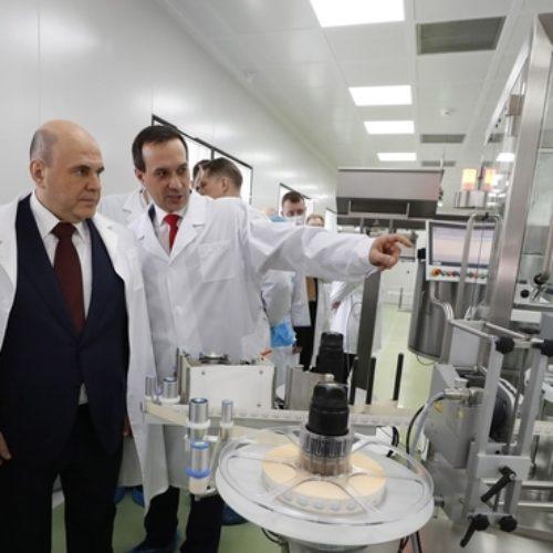 Михаил Мишустин запустил линию розлива вакцины ЭпиВакКорона